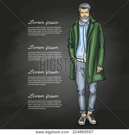 Vector man model dressed in pants, shirt, jeanse jacket, sneakers, and long coat on a dark background