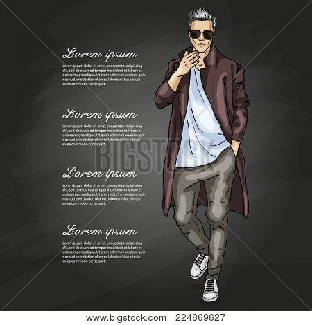 Vector man model dressed in pants, t-shirt and long coat on a dark background