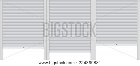 Vector illustration: Template of background with covered roller shutters.