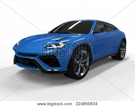 The newest sports all-wheel drive blue premium crossover in a white background. 3d rendering