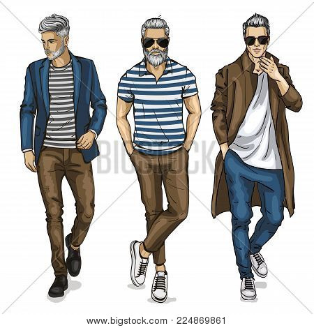 Vector man models dressed in jeans, sketch, hipster outfit
