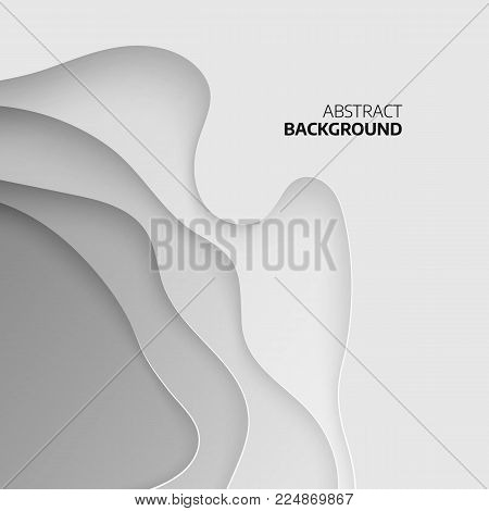 Abstract topographic background. 3D papercut layers. Abstract paper cut art background design for website template. Topography map concept. Vector illustration