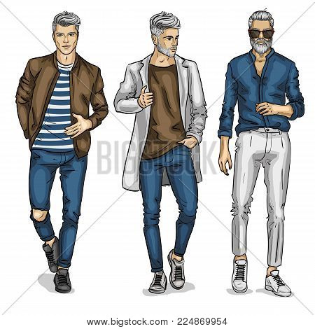 Vector man models, sketch, casual outfit. Vector illustration EPS 10