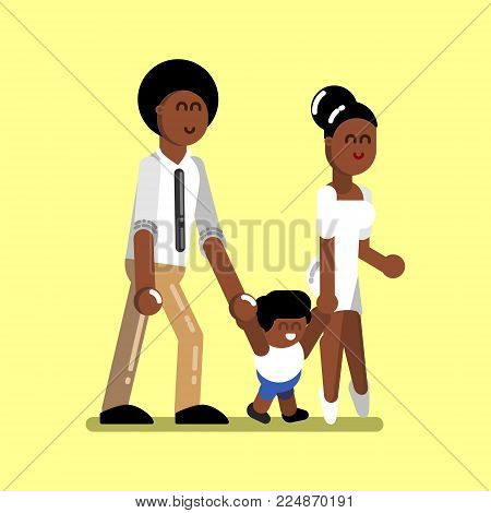 Young afro american family with boy. Vector illustration, EPS 10