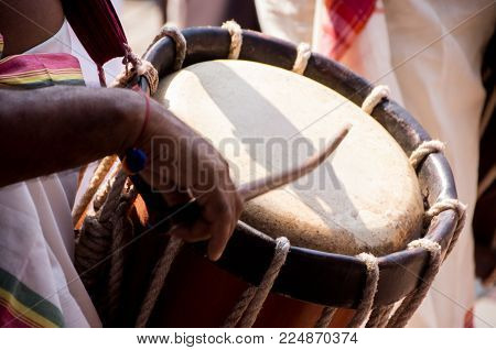 Indian Drummers In Kerala Playing Chenda Drums