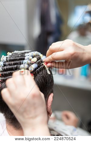 perm in the beauty salon . Photos in the studio