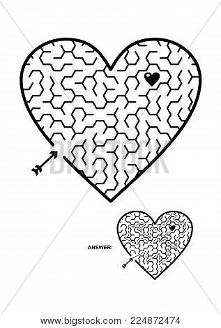 Valentine's Day, wedding, romantic, etc., themed heart shaped hexagonal maze or labyrinth game. Suitable both for kids and adults. Answer included.