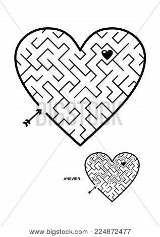 Valentine's Day, wedding, romantic, etc., themed heart shaped diagonal maze or labyrinth. Suitable both for kids and adults. Answer included.