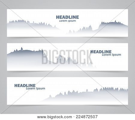 Vector illustration: Three template design layout of web banner with morning foggy mountains background.