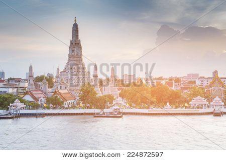 Arun temple river front famous historic landmark, Bangkok Thailand