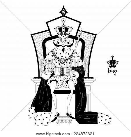 King wearing a crown and royal mantle, sitting on a throne. Black and white. Vector illustration.