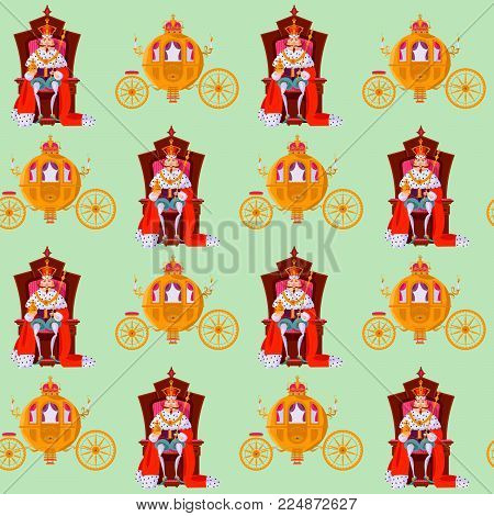 King wearing a crown and royal mantle, sitting on a throne, Fantasy Carriage. Seamless background pattern. Vector illustration