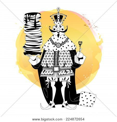 King wearing a crown and royal mantle, holds a stack of pancakes. Happy pancake Day! Black and white. Vector illustration