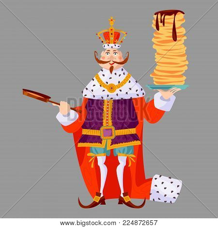 King wearing a crown and royal mantle, holds a stack of pancakes and a frying pan. Happy pancake Day! Vector illustration