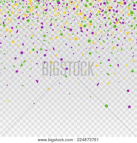 Mardi Gras carnival confetti seamless background. Traditional colors yellow, purple, green. Stock vector illustration