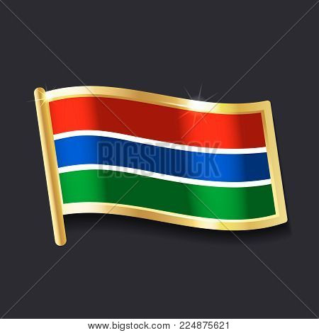 flag of Gambia in the form of badge, flat image