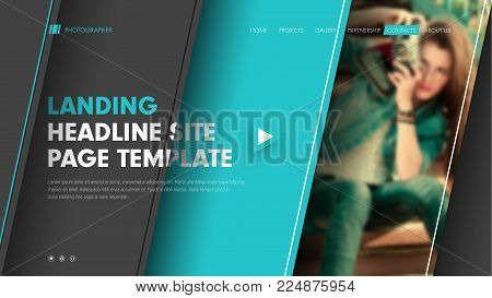 Template header site with diagonal black and blue lines and a place for a photo. Modern banner design with title, text and buttons. Vector illustration