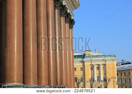 St. Isaac's Cathedral Colonnade Pillars in Saint-Petersburg, Russia. Granite, Malachite and Lapis Lazuli Columns Classical Imperial Architecture. Detailed Close Up Image of Monumental City Church.