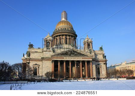 Saint Isaac's Cathedral (Isaakievskiy Sobor) in Saint Petersburg, Russia. Fourth Largest Cathedral in the World.  Traditional Russian Neoclassical Exterior Architecture on Winter Season Outside View.