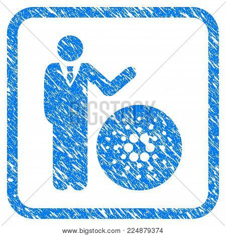 Businessman Show Cardano rubber seal stamp watermark. Icon vector symbol with grunge design and dust texture inside rounded rectangle. Scratched blue sticker on a white background.