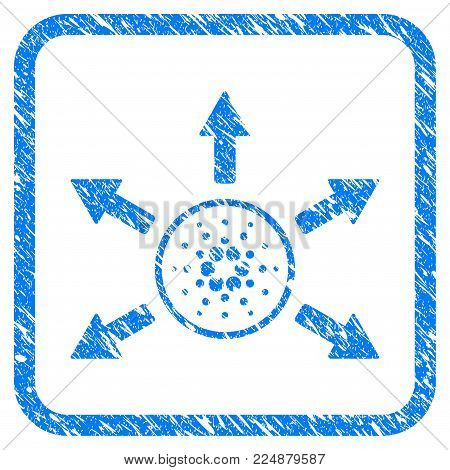 Cardano Distribution Arrows rubber seal stamp watermark. Icon vector symbol with grunge design and dust texture in rounded frame. Scratched blue sticker on a white background.