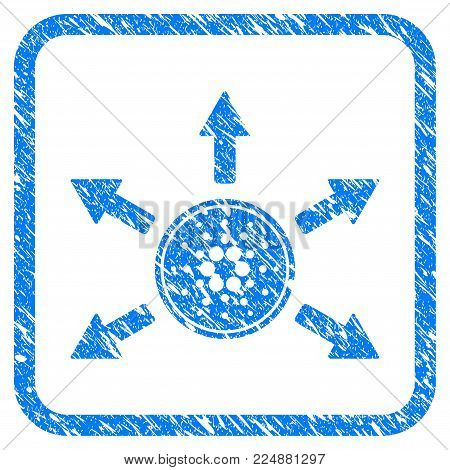Cardano Coin Distribution Arrows rubber seal stamp watermark. Icon vector symbol with grunge design and corrosion texture in rounded frame. Scratched blue emblem on a white background.