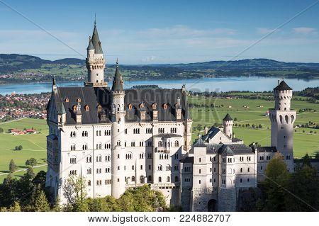 Castle Neuschwanstein in the bavarian alps, Fuessen, Bavaria, Germany