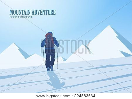 Vector illustration: Climb to the peak of the mountain. Climber with backpack