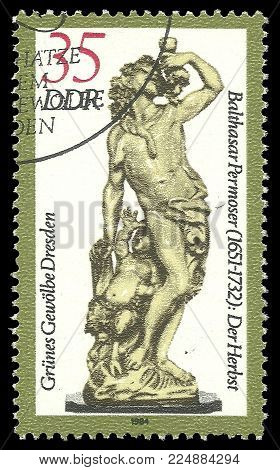 Germany - circa 1984: Stamp printed by Germany, Color edition on Dresden Gallery Art, shows Green Vault sculpture The Fall, circa 1984