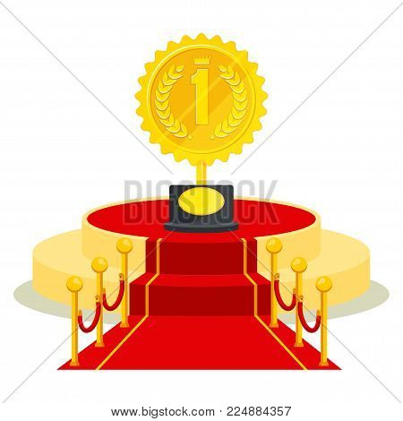 Achievement concept. Award medal on red carpet for holiday greeting ceremonies. Honoring the winners, famous people, success and celebrities. Flat vector cartoon objects isolated on white background.