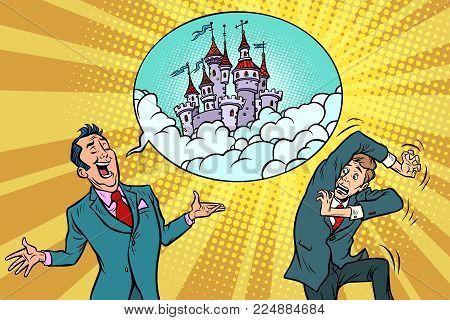 Confident businessman offers a man fabulous castle in the sky. Comic book cartoon pop art retro illustration