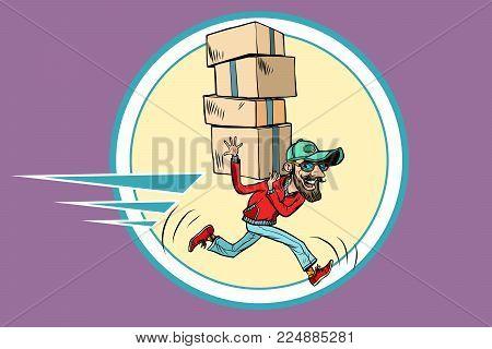 courier runs delivery. Comic book cartoon pop art retro illustration vector