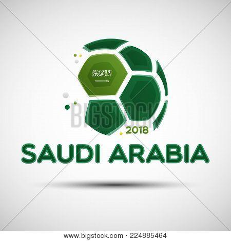 Football championship banner. Flag of Saudi Arabia. Vector illustration of abstract soccer ball with Saudi Arabian national flag colors for your design