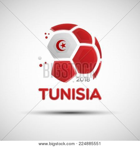 Football championship banner. Flag of Tunisia. Vector illustration of abstract soccer ball with Tunisian national flag colors for your design