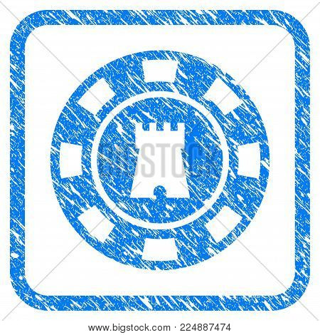 Bulwark Casino Chip scratched textured icon inside rounded frame for overlay watermark imitations. Flat symbol with dirty texture.