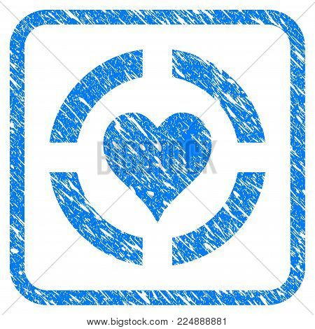 Casino Hearts Suit scratched textured icon inside rounded rectangle for overlay watermark stamps. Flat symbol with scratched texture.