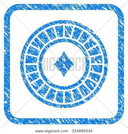 Casino Roulette scratched textured icon inside rounded square for overlay watermark imitations. Flat symbol with scratched texture.