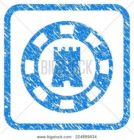Castle Casino Chip grungy textured icon inside rounded rectangle for overlay watermark stamps. Flat symbol with scratched texture.