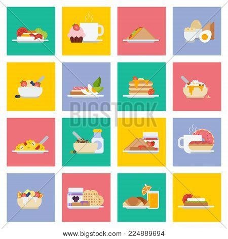 Set of breakfast icons in flat style. Vector concept illustration of food and drinks for traditional healthy English breakfast with eggs, ssausages, pancakes and orange juice, coffee or tea.