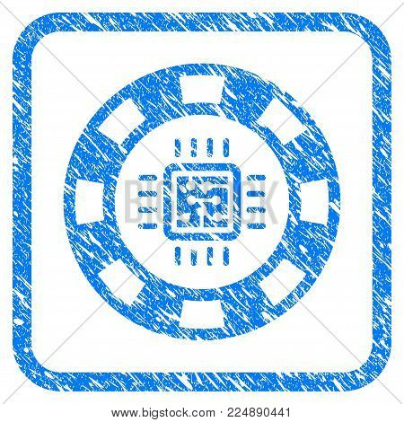 Cpu Casino Chip grainy textured icon inside rounded square for overlay watermark stamps. Flat symbol with unclean texture. Framed vector blue rubber seal stamp with grunge design of cpu casino chip.