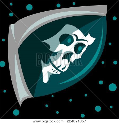Logo of the turtle in space. Design skull illustration in a spacesuit flying in space amongst the stars