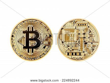 Bitcoin. Physical bit coin. Digital currency. Cryptocurrency. Golden coin with bitcoin symbol isolated on white background