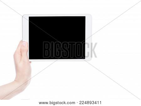 Female hand holding graphic tablet isolated on white background.
