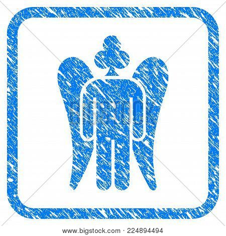 Gambling Angel grungy textured icon inside rounded frame for overlay watermark stamps. Flat symbol with scratched texture. Framed vector blue rubber seal stamp with grunge design of gambling angel.