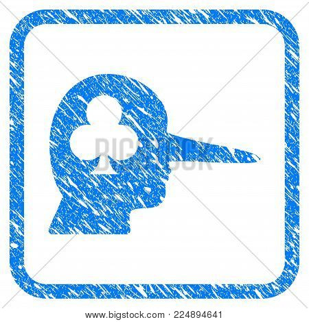 Gambling Jerk grainy textured icon inside rounded frame for overlay watermark imitations. Flat symbol with scratched texture. Framed vector blue rubber seal stamp with grunge design of gambling jerk.
