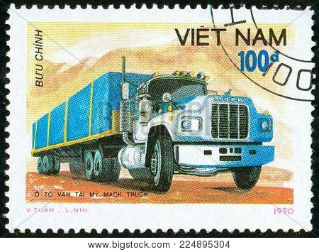 Illustrative editorial. Ukraine - circa 2018: A postage stamp printed in Vietnam show American Heavy Truck Mack. Circa 1990.