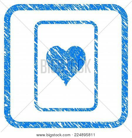 Hearts Gambling Card scratched textured icon inside rounded rectangle for overlay watermark stamps. Flat symbol with scratched texture.