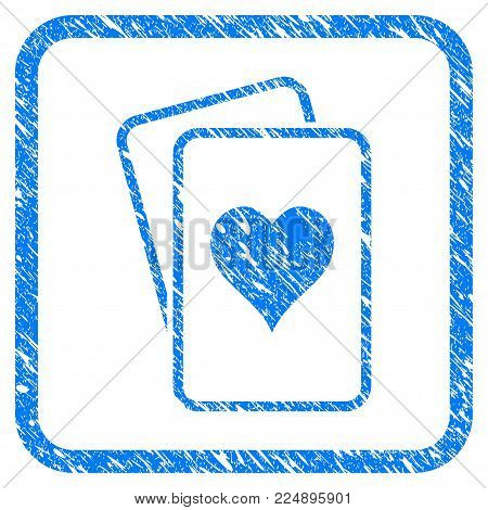 Hearts Gambling Cards scratched textured icon inside rounded rectangle for overlay watermark imitations. Flat symbol with scratched texture.