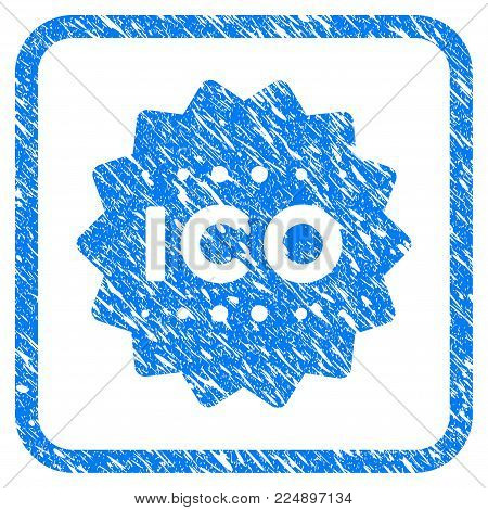 Ico Token grunge textured icon inside rounded square for overlay watermark stamps. Flat symbol with dust texture. Framed vector blue rubber seal stamp with grunge design of ico token.