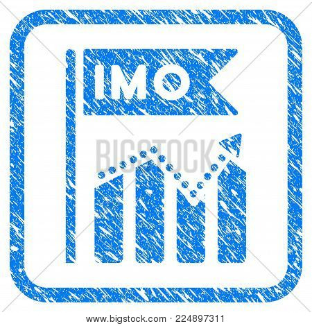 Imo Chart Trend grunge textured icon inside rounded frame for overlay watermark stamps. Flat symbol with scratched texture. Framed vector blue rubber seal stamp with grunge design of imo chart trend.